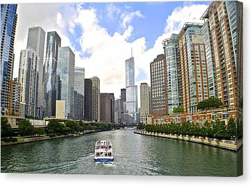 Down The Chicago River Canvas Print