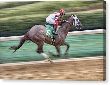 Down The Stretch - Horse Racing - Jockey Canvas Print