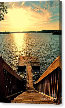 Down To The Fishing Dock - Lake Of The Ozarks Mo Canvas Print by Debbie Portwood