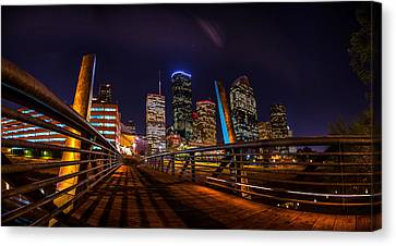 Down Town Houston From The Buffalo Bayou Bridge Canvas Print by Micah Goff