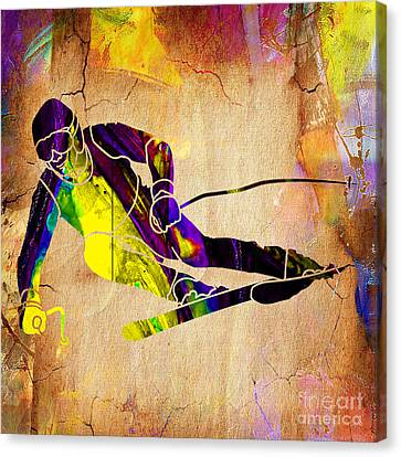 Downhill Skier Canvas Print by Marvin Blaine