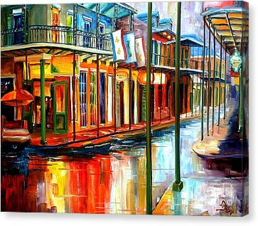 Rainy Day Canvas Print - Downpour On Bourbon Street by Diane Millsap
