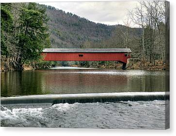 Canvas Print featuring the photograph Downstream From The Historic Hillsgrove Covered Bridge by Gene Walls