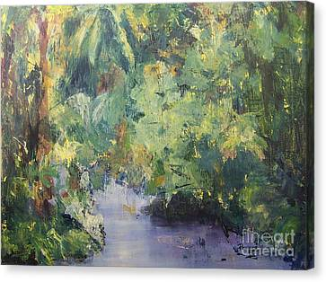 Canvas Print featuring the painting Downstream by Mary Lynne Powers