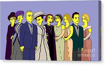 Canvas Print featuring the digital art Downton Abbey - Cast Nine by Donna Huntriss