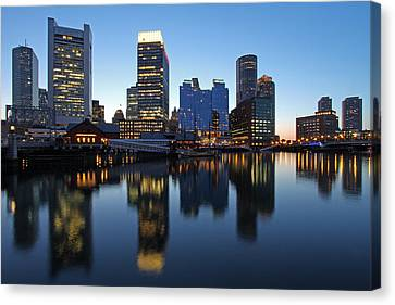 Downtown And Intercontinental Hotel Boston Canvas Print