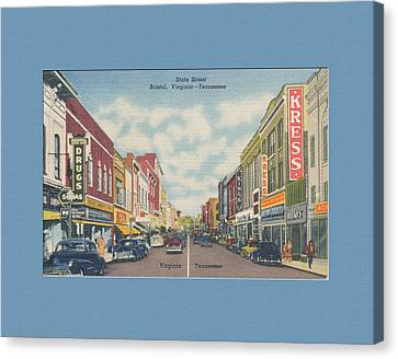 Downtown Bristol Va Tn 1940's Canvas Print by Denise Beverly