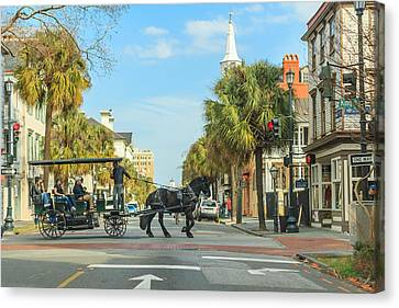 Canvas Print featuring the photograph Downtown Charleston Stroll by Patricia Schaefer