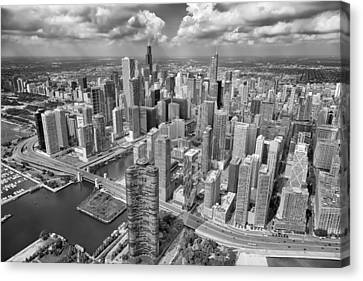 Downtown Chicago Aerial Black And White Canvas Print by Adam Romanowicz