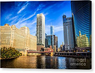 Downtown Chicago At Franklin Street Bridge Picture Canvas Print by Paul Velgos