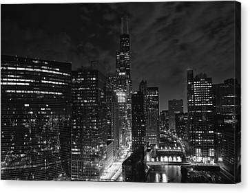 Downtown Chicago At Night Canvas Print by Ricky L Jones