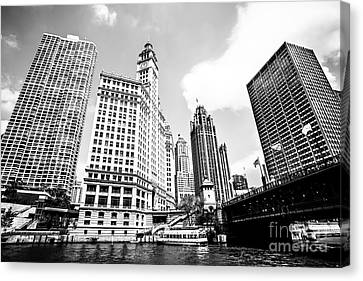 Downtown Chicago Buildings Black And White Picture Canvas Print by Paul Velgos