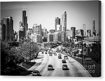 Downtown Chicago Lake Shore Drive In Black And White Canvas Print by Paul Velgos