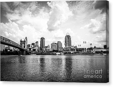 Ballpark Canvas Print - Downtown Cincinnati Skyline Black And White Picture by Paul Velgos