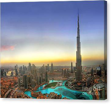 Khalifa Canvas Print - Downtown Dubai At Sunset by Lars Ruecker