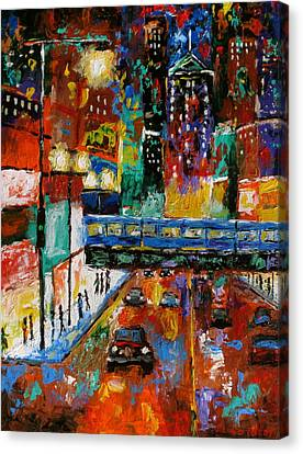 Downtown Friday Night Canvas Print by J Loren Reedy