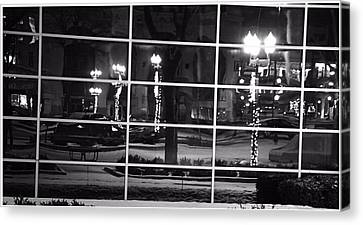 Downtown Holiday Reflections Canvas Print by Dan Sproul
