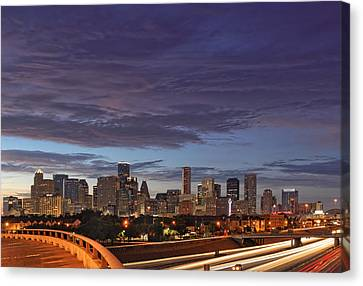 Downtown Houston After The Storm Canvas Print by Silvio Ligutti