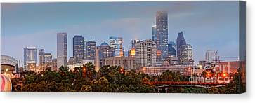 Downtown Houston Panorama At Dawn Canvas Print by Silvio Ligutti