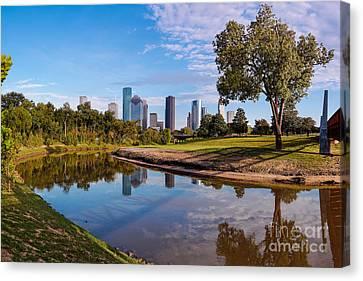 Downtown Houston Panorama From Buffalo Bayou Park Canvas Print