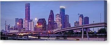 Downtown Houston Panorama From Hogan Street Bridge - Houston Texas Canvas Print by Silvio Ligutti
