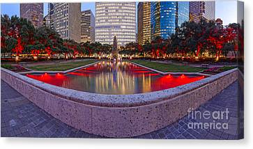 Downtown Houston Skyline Hermann Square City Hall Decked Out In Christmas Lights - Houston Texas Canvas Print by Silvio Ligutti