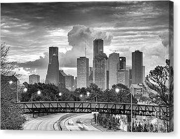 Downtown Houston Skyline In Black And White - Texas Canvas Print by Silvio Ligutti