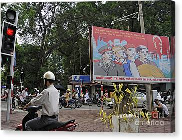 Downtown In Hanoi Canvas Print by Sami Sarkis