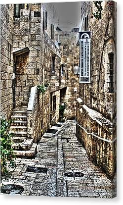 Canvas Print featuring the photograph Downtown In Jerusalems Old City by Doc Braham