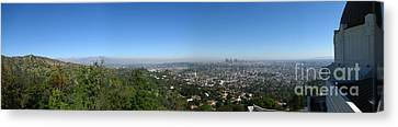 Downtown La From Griffith Observatory Canvas Print by Bedros Awak