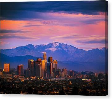 Downtown Los Angeles After Sunset Canvas Print