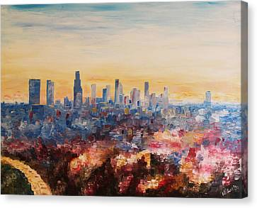 Downtown Los Angeles At Dusk Canvas Print by M Bleichner