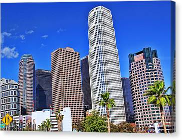 Downtown Los Angeles Canvas Print by Mariola Bitner