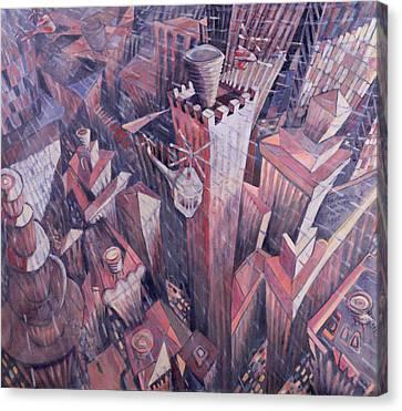 Downtown Manhattan Hailstorm, 1995 Oil On Canvas Canvas Print by Charlotte Johnson Wahl