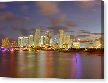 Downtown Miami And Aaa Canvas Print by Claudia Domenig