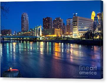 Downtown Minneapolis Skyline Hennepin Avenue Bridge Canvas Print by Wayne Moran