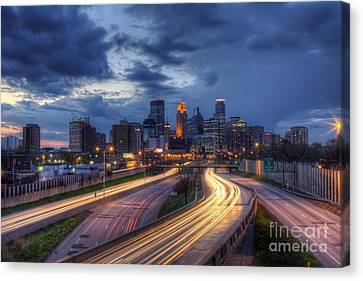 Downtown Minneapolis Skyline On 35 W Sunset Canvas Print