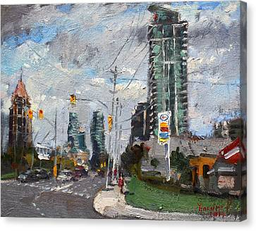 Downtown Mississauga On Canvas Print by Ylli Haruni