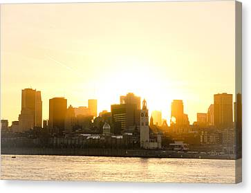 Downtown Montreal In Fall Season Dusk Canvas Print by Eric Soucy