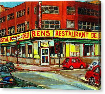 Downtown Montreal Memories Ben's Restaurant Deli  Le Fameux Smoked Meat Produits By Carole Spandau Canvas Print by Carole Spandau