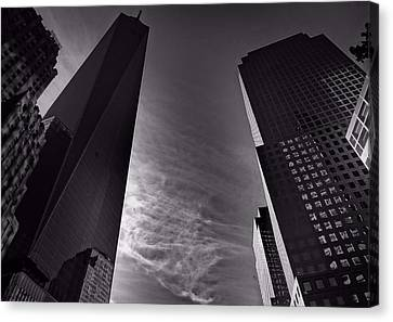 Downtown New York City In Black And White Canvas Print