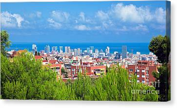 Downtown Panorama Of Barcelona Canvas Print by Michal Bednarek