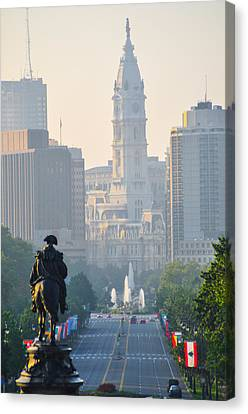 Downtown Philadelphia - Benjamin Franklin Parkway Canvas Print by Bill Cannon