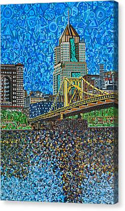 Downtown Pittsburgh - Roberto Clemente Bridge Canvas Print by Micah Mullen