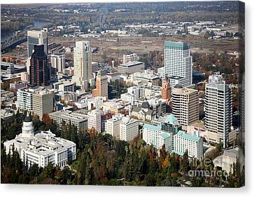 Downtown Sacramento And Capitol Park Canvas Print by Bill Cobb