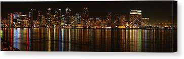 Downtown San Diego At Night From Harbor Drive Canvas Print