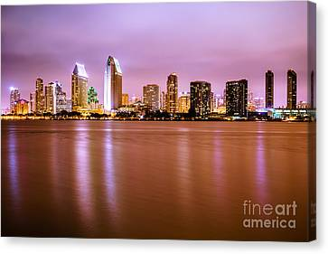 Downtown San Diego Skyline At Night Canvas Print by Paul Velgos