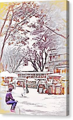 Downtown Sao Paulo Brazil 6 - 1982 - Topaz Canvas Print by Steve Ohlsen