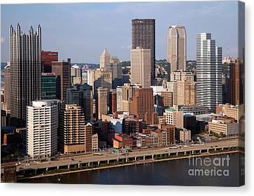 Downtown Skyline Of Pittsburgh Pennsylvania Canvas Print by Bill Cobb
