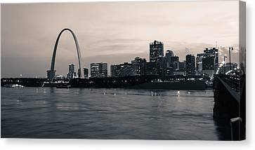 Downtown St. Louis In Twilight Canvas Print by Scott Rackers
